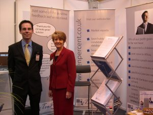 Jonathan Fagan, Managing Director of Ten-Percent Legal Recruitment and Pearl McNamara at the NEC Law Exhibition